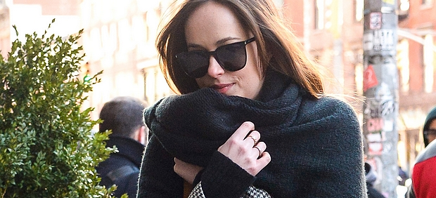 Dakota Johnson bundles up for a walk in chilly NYC